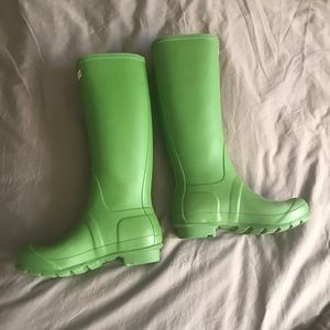 Bright green Hunter boots